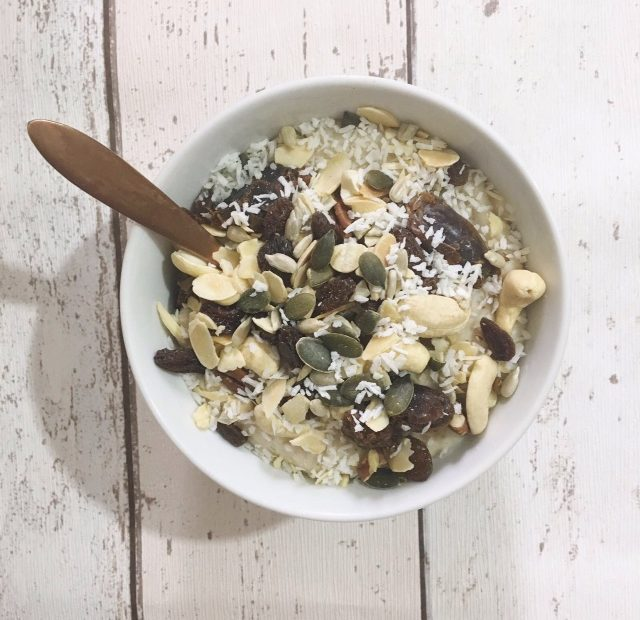 Plant based - oats, raisins, seeds and nuts